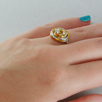 Thumb Ring Or Any Finger Rosette Gold and Silver Aluminum