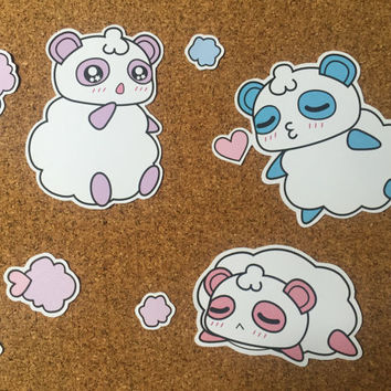 Kawaii Anime Manga Harajuku Fairy Kei Pastel Cartoon Cotton Candy Panda Pandy Sticker Set