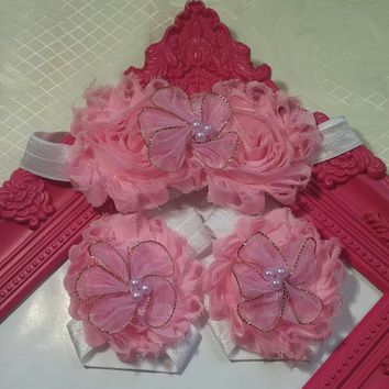 Pink and White with Pearl and Gold Flowers Headband and Barefoot Sandal Set!