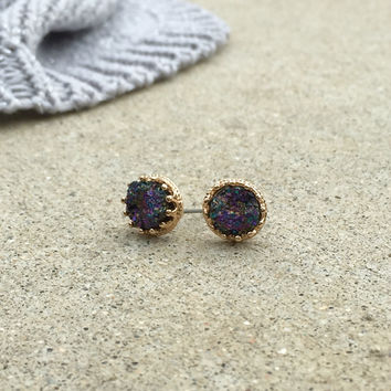 Midnight Druzy Stud Earrings