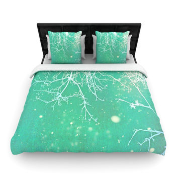 "Alison Coxon ""White Branches"" Teal Woven Duvet Cover"