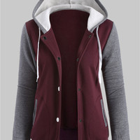 Color Collision Button Front Hooded Jacket
