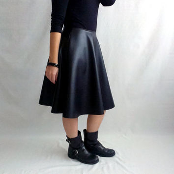 Black leather skirt, midi skirt, black skirt, leather skirt, knee skirt, long skirt, half circle skirt, black long skirt,faux leather skirt