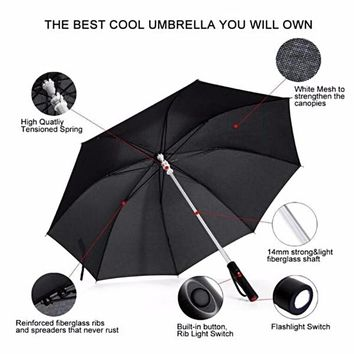 Led Light Up Umbrella With 7 Color Light Sequence