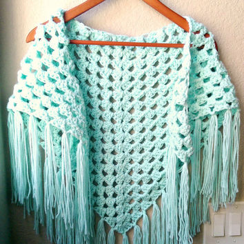 Crochet Sarong, festival clothing, Crocheted Fringe Scarf, Lacy Mint Shawl, Boho Triangle Shawl, Spring Crochet Shawl, Crochet Mint Coverup