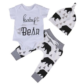Summer 2017 Newborn Baby Boys Girls Kids Clothes Romper T-shirt Tops +Long Pants+Hat Outfits Sets