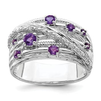 Sterling Silver Amethyst And Diamond Multi Stone Ring