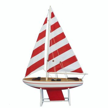 "Wooden It Floats 21"" - Rustic Red Striped Floating Sailboat Model"