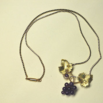 Vintage Krementz Grapes Necklace, Genuine Amethyst, 14KT Rolled Gold, Grape Cluster Necklace, Vineyard Beauty!  #A863