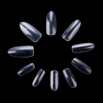 Ship from USA 500 Oval False Nails Fullwell Clear Full Cover Nail Fake Nail Art Tips French Nail Tools USA0015