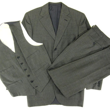 Vintage Bespoke Three Piece Suit by Bailey and Hughes Ltd - Grey Savile Row Tailored Custom Menswear -Size 38 30x31 Medium