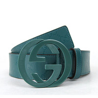 NEW Authentic GUCCI Mens Imprime Belt w/Interlocking G Buckle Teal 223891 4715