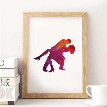 Love Poster Watercolor painting couples umbrella love print couple print couple art, watercolor painting, pink, red, color, purple, colorful