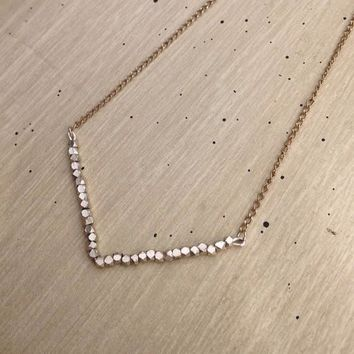Sparkly Delicate Gold with Silver Chevron Necklace
