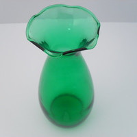 Green Glass Ruffle Top Hand Blown Vase Estate Find c 1960s
