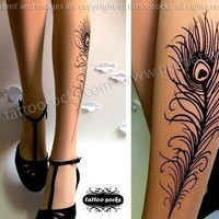 sexy PEACOCK FEATHER TATTOO gorgeous kneehigh socks light by post