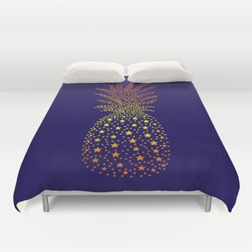 Golden Pineapple Stars Duvet Cover by ES Creative Designs