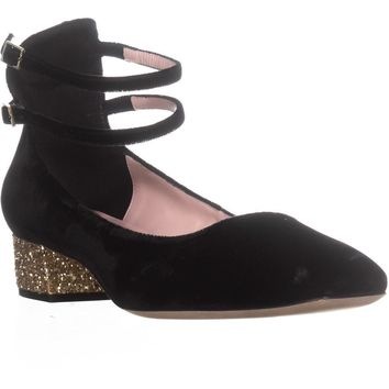 Kate Spade New York Macellina Glitter Heel, Black, 10 US