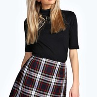 Rita Check Print Wrap A Line Mini Skirt