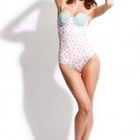 wildfox couture - women's daisy print parisian one piece (pale pink) - wildfox couture | 80's Purple
