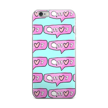 Instagram Comments & Likes Painting Cute Teen Girly Girls Tie Dye Pink Purple & Sky Blue iPhone 4 4s 5 5s 5C 6 6s 6 Plus 6s Plus 7 & 7 Plus Case