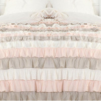 White Pink Taupe Ruffle Bedspread Set 3pc, Egyptian Cotton Bedding 1000 Thread Count