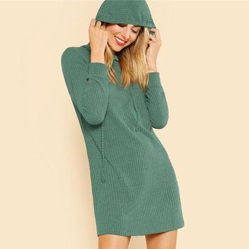 Green Solid Rib Knit Hoodie Dress Casual Long Sleeve Stretchy Sweater Dresses Women Minimalist Straight Short Dress