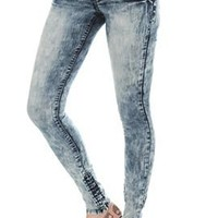 LOVEsick Blue Acid Wash Super Skinny Jeggings - 718907