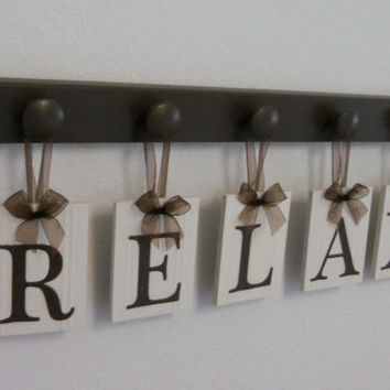 RELAX Sign Personalized Hanging Letters Includes 5 Wooden Hangers in Brown. Home Entryway Decor.