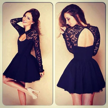Hollow Out Backless Lace Long Sleeve Sexy One Piece Dress [4919456132]