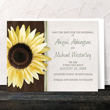 Sunflower Save the Date Cards - Country Wood Brown Green Rustic Sunflower Save the Date - Printed Flat Cards
