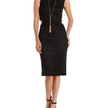 Black Layered & Cut-Out Bodycon Dress by Charlotte Russe
