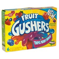Fruit Gushers Fruit Flavored Snacks, Triple Berry Shock, 6-Count Pouches (Pack of 12)