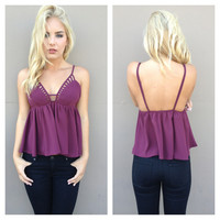 Wine Cut Out Peplum Tank