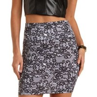 Lace Print Bodycon Mini Skirt by Charlotte Russe