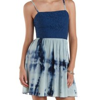 Navy Combo Lace & Tie-Dye Strappy Dress by Charlotte Russe