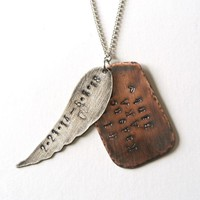 Sterling Silver Angel Wing with Copper Dog Tag Sterling Silver Chain - Hand Stamped Personalized
