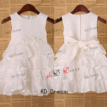On Special Ivory Lace Tiered Flower Girl Dress Children Birthday Party Dress Kids Dress with Ivory Sash/Flower