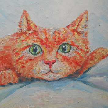 Ginger Cat Painting Pet Portrait Custom Cat Picture Impasto Kitten Miniature Fugitive Child Room Decor Russian Still Life Contemporary Art