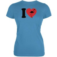DCCKJY1 I Heart Love Flamingo Flamingoes Aqua Juniors Soft T-Shirt