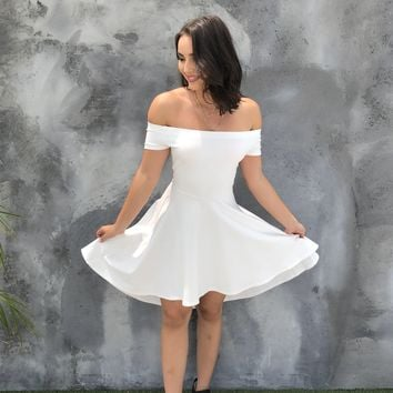 Yours Truly Hi Low White Strapless Midi Dress