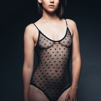 Black Star Sheer Black Mesh Bodysuit