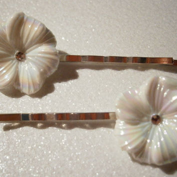 White Aurora Borealis Pansy Flower Hair Pin Set - Silver Tone Bobby Pin Set - Teen Accessories - Flower Girl Accessories