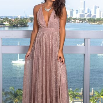 Mauve Maxi Dress with Shimmer Detail