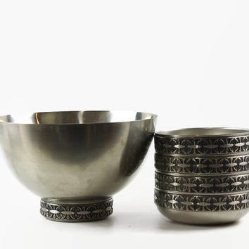 Mid Century Modern, Stainless Steel Bowl, Salad Set, Sweden, Danish Modern