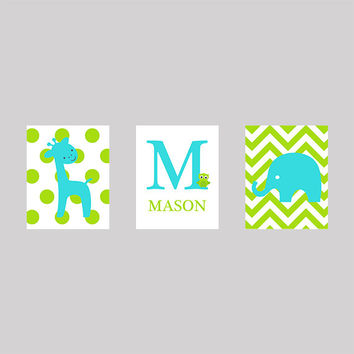 Monogram Letter and Name, Lime Green and Aqua, CUSTOMIZE YOUR COLORS, 8x10 Prints, set of 3, nursery decor nursery print art baby room decor