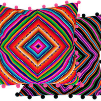 PERUVIAN POM POM cushion cover - throw pillow, Peruvian ethnic cushion, boho decor, embroidered pillow, bohemian decor