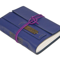 Purple Leather Wrap Journal with Love Bookmark