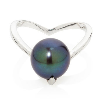 Lee Renée Cathy Pearl & Silver Heart Ring