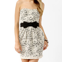 Strapless Paisley Lace Dress